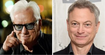 Conservative actor James Woods, left; and actor and veterans activist Gary Sinise, right.
