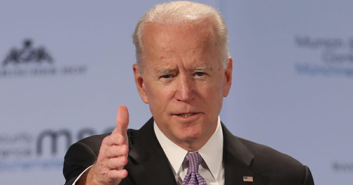 Former U.S. vice president Joseph Biden gives a speech on February 16, 2019, in Munich, Germany.