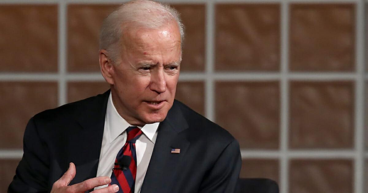 Former Vice president Joe Biden speaks at the University of Pennsylvania's Irvine Auditorium February 19, 2019 in Philadelphia, Pennsylvania.
