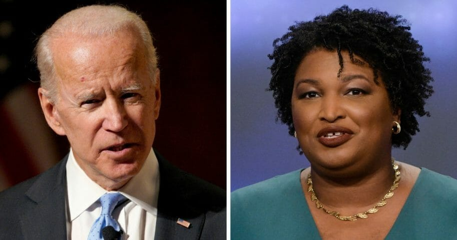 Former Vice President Joe Biden, left, and former Georgia state lawmaker Stacey Abrams, right, met in Washington on March 14, 2019