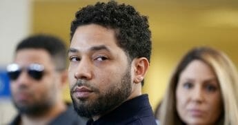Actor Jussie Smollett after his court appearance at Leighton Courthouse on March 26, 2019, in Chicago, Illinois.