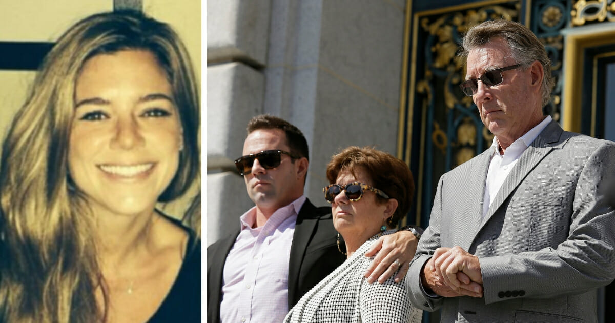 From left, Brad Steinle, Liz Sullivan and Jim Steinle, the brother, mother and father of Kate Steinle, far left, who was shot to death on a pier, listen to their attorneys speak during a news conference on the steps of City Hall in San Francisco on Sept 1, 2015.