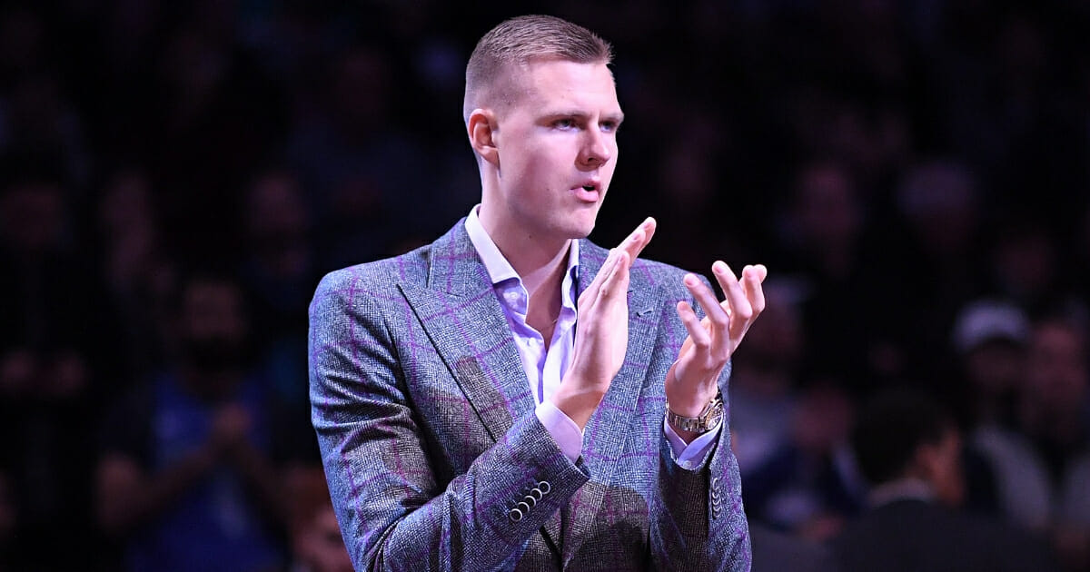Kristaps Porzingis #6 of the Dallas Mavericks before the game against the Brooklyn Nets at Barclays Center on March 4, 2019 in the Brooklyn borough of New York City.