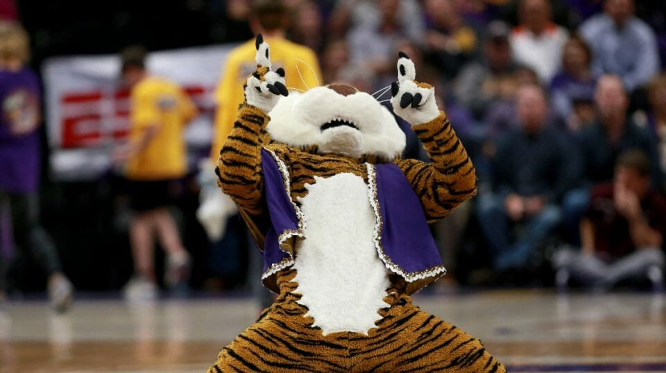 LSU Tigers mascot Mike the Tiger performs during a game against the Texas A&M Aggies at Pete Maravich Assembly Center on Feb. 26, 2019 in Baton Rouge, LA.