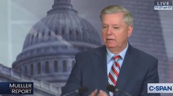 South Carolina Republican Sen. Lindsey Graham addresses a news conference on Capitol Hill on Monday.