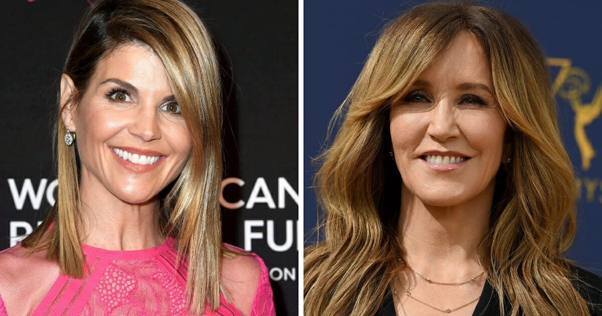 Hollywood actresses Lori Loughlin, left, and Felicity Huffman, right.