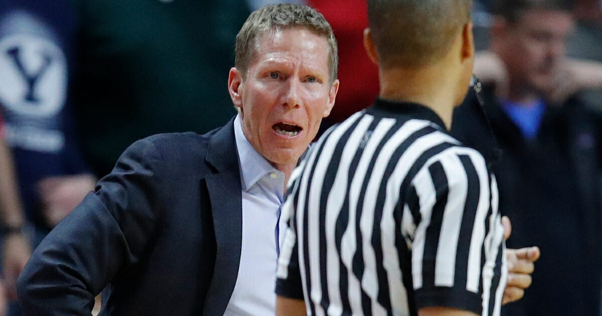 Gonzaga basketball coach Mark Few argues with an official during his team's game against St. Mary's.