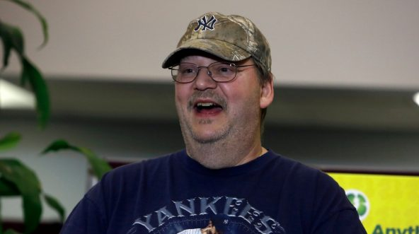 Lottery winner Mike Weirsky speaks during a news conference