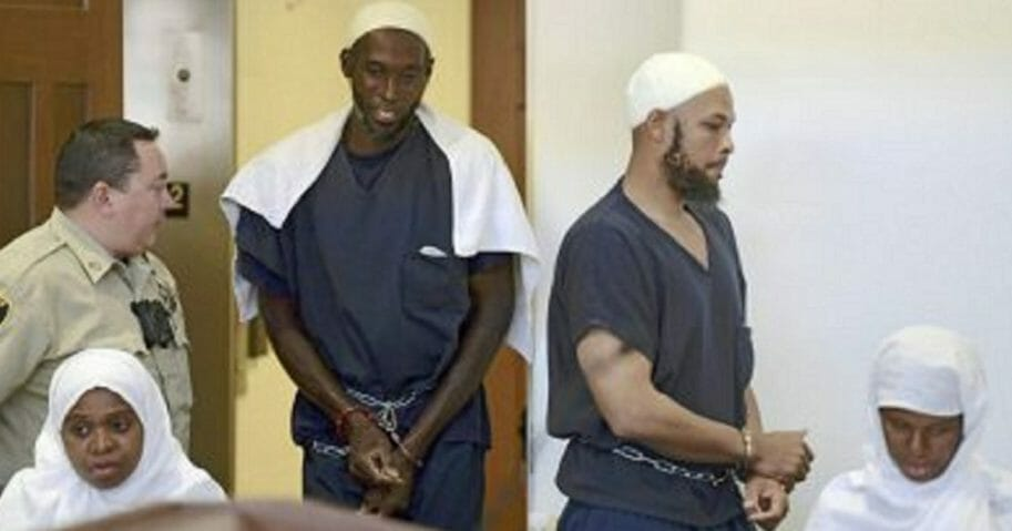 Four of five defendants in the case of a compound in New Mexico raided last year are pictured in a file photo from August 2018. From left: Jany Leveille, Lucas Morton, Siraj Ibn Wahhaj and Subbannah Wahhaj.