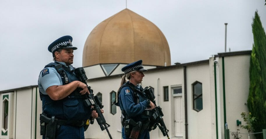 Armed police guard Al Noor mosque after it was officially reopened following last weeks attack, on March 23, 2019 in Christchurch, New Zealand.