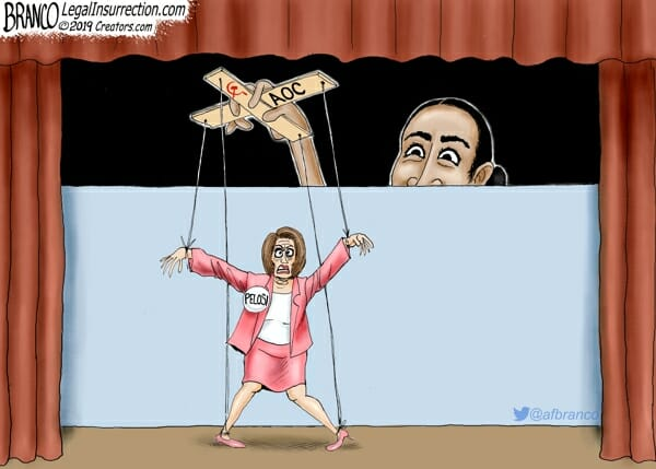 Nancy Pelosi is depicted as a marionette, with Alexandria Ocasio-Cortez pulling the strings from offstage.