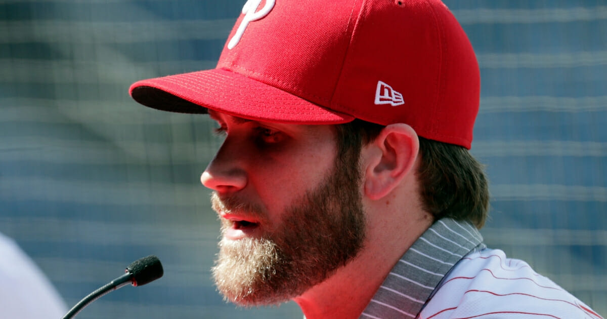 Bryce Harper speaks during a news conference at the Philadelphia Phillies spring training baseball facility in Clearwater, Florida, March 2.