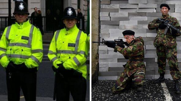British Metropolitan police; British soldiers