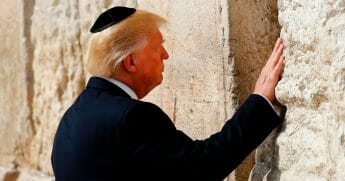 President Donald Trump visits the Western Wall in Jerusalem's Old City on May 22, 2017.