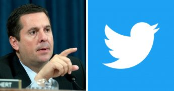 Rep. Devin Nunes, R-Calif., left, and Twitter's logo, right.
