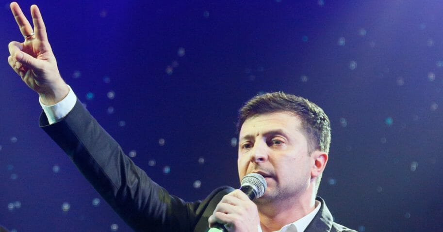 Ukrainian actor Volodymyr Zelenskiy, a candidate in the upcoming presidential election, hosts a show in Brovary, Ukraine, on Friday, March 29, 2019.