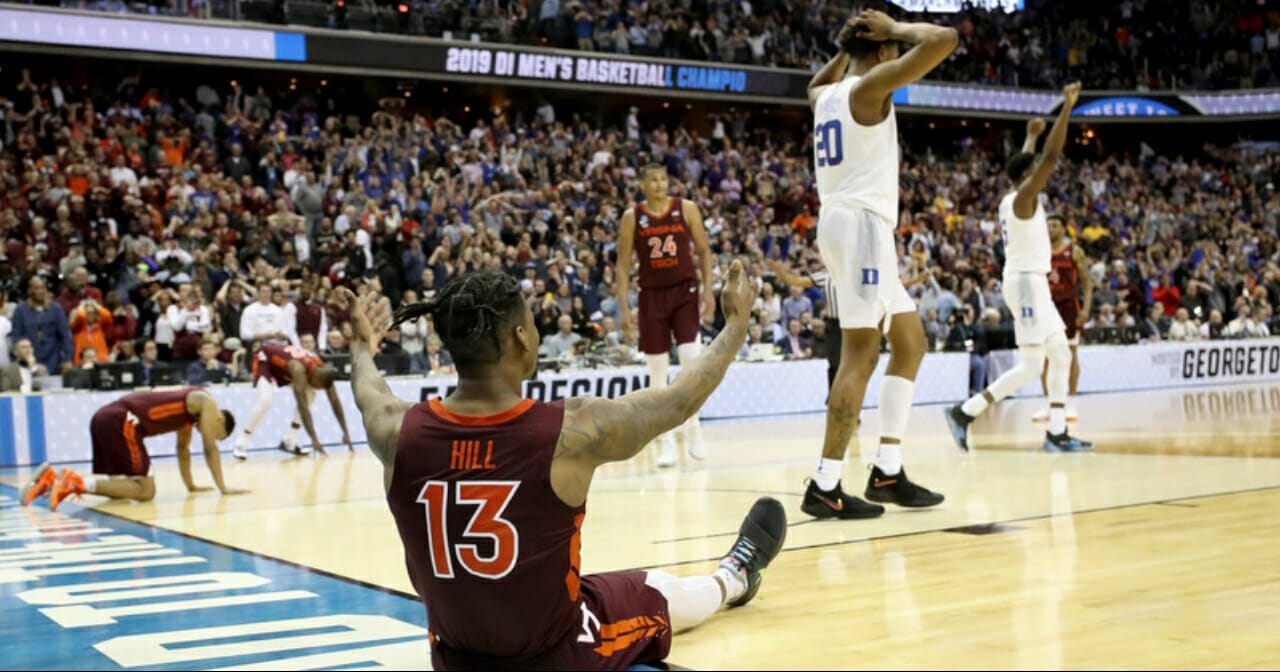 Ahmed Hill of the Virginia Tech Hokies reacts after missing a layup against the Duke Blue Devils late in the second half in the East Regional game of the 2019 NCAA Men's Basketball Tournament at Capital One Arena on March 29, 2019 in Washington, DC.