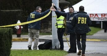 FBI agents and police on the scene of the Octorber mass shooting at the Tree of Life Synagogue in PIttsburgh.