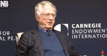 Television news veteran Ted Koppel appears at the Carnegie Endowment for International Peace in Washington.