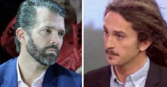 Donald Trump Jr., left; New York Daily News reporter Chris Sommerfeldt, right.