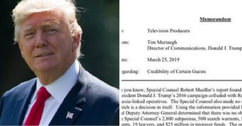 President Donald Trump, left; snippet of re-election campaign's memo to TV producers, right.