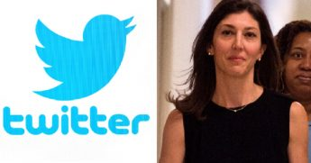 Twitter logo, left; and former FBI attorney Lisa Page, right.