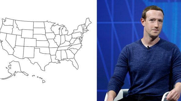 A map of the United States with states outlined, left, and Mark Zuckerberg talks to an audience of people.