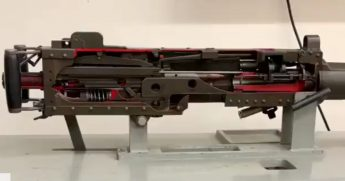 A cutaway view of an M2 machine gun.