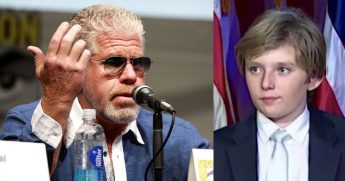 Actor Ron Perlman; Barron Trump.