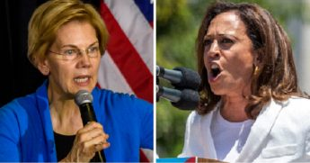 Sen. Elizabeth Warren, left; and Sen. Kamala Harris, right.