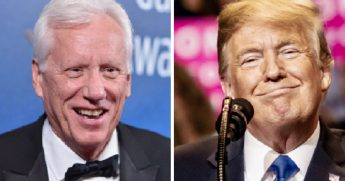Conservative actor James Woods, left; and President Donald Trump, right.