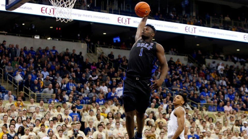 Zion Williamson of the Duke Blue Devils dunks against against the Pittsburgh Panthers at Petersen Events Center on Jan. 22, 2019 in Pittsburgh.