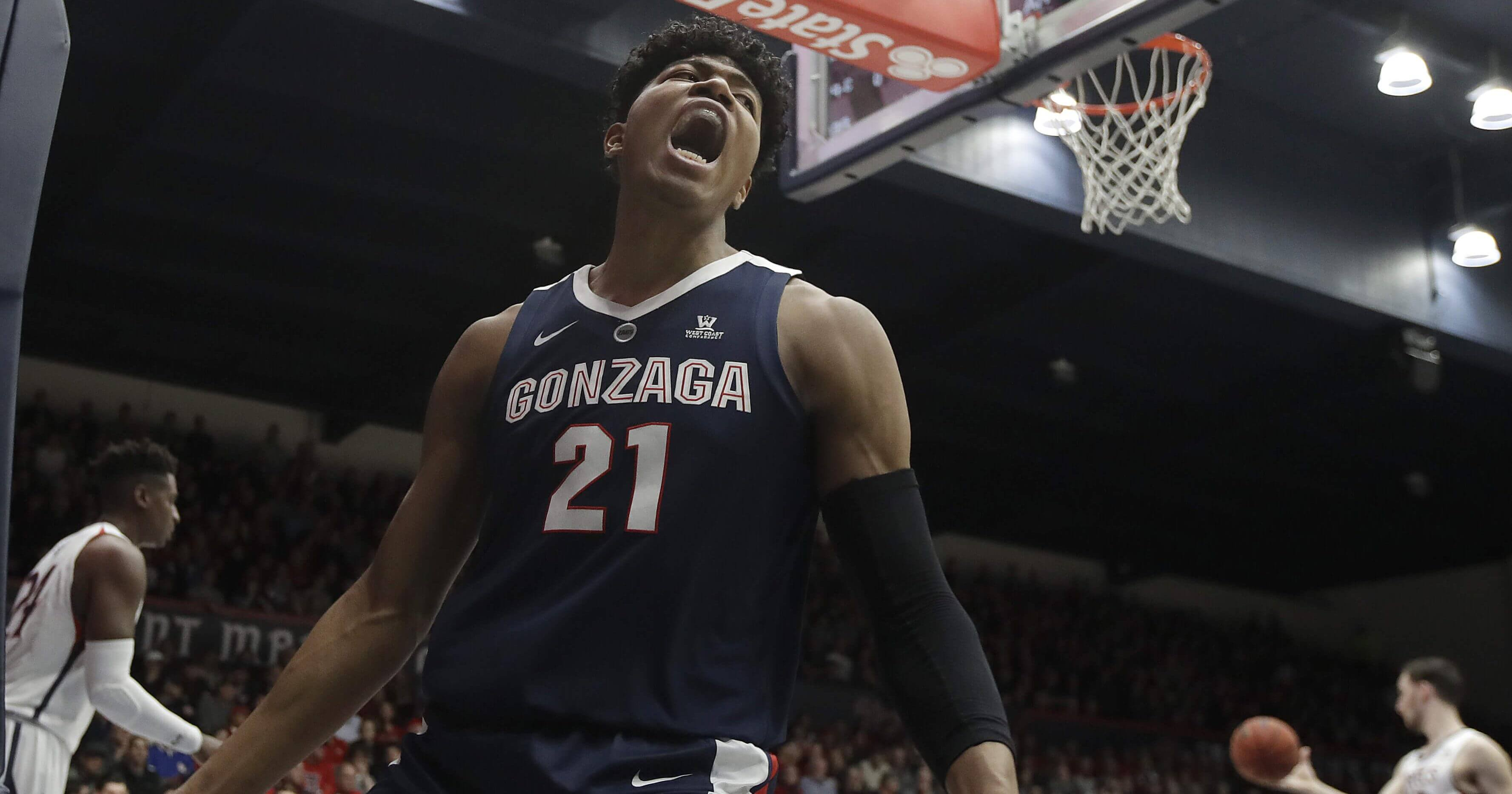 Gonzaga forward Rui Hachimura yells after dunking against Saint Mary's in Moraga, California on Saturday, March 2, 2019.