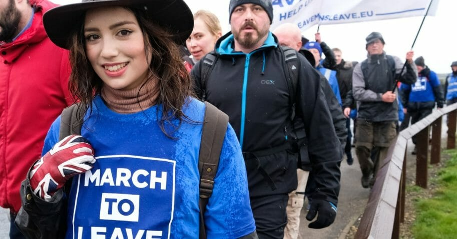Marchers take part in the first leg of the March to Leave demonstration on March 16, 2019 in Sunderland, England.