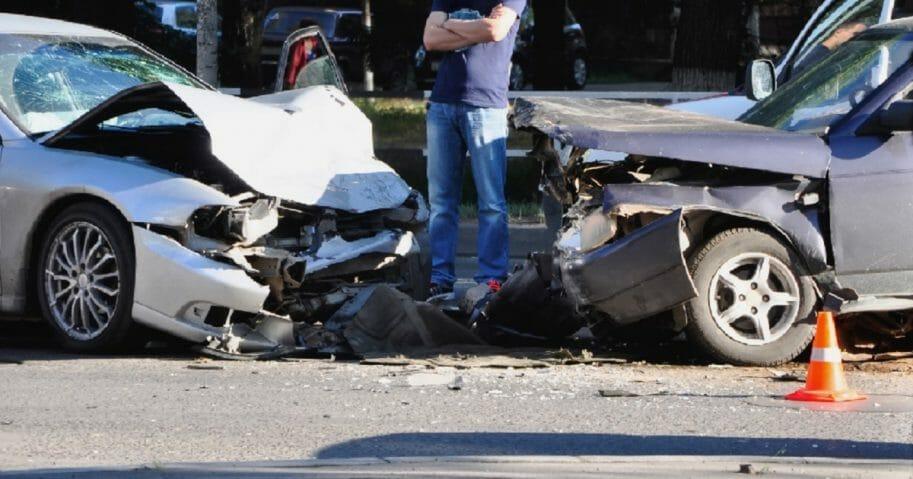 Scene of a car crash.