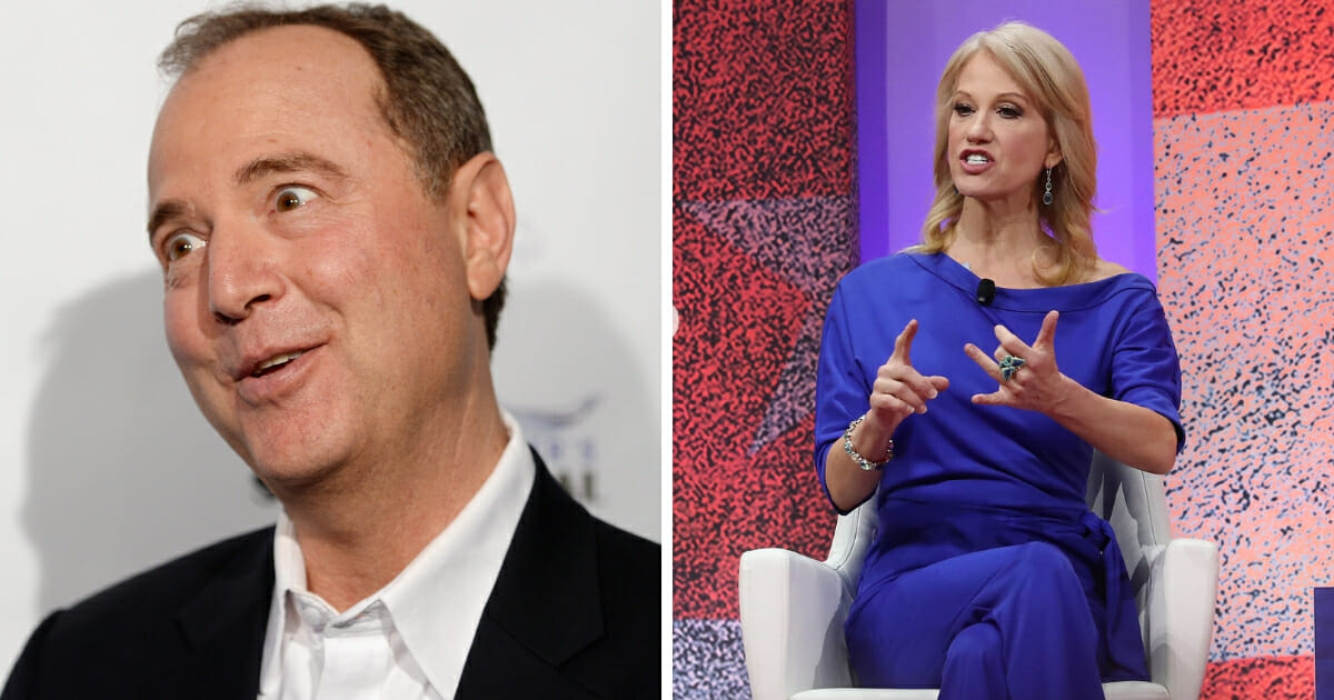 White House counselor Kellyanne Conway, right, speaks about opioid abuse during CPAC 2019. United States Congressman Adam Schiff, left, attends the Los Angeles leg of Stephanie Miller's Sexy Liberal Blue Wave Tour in 2018.