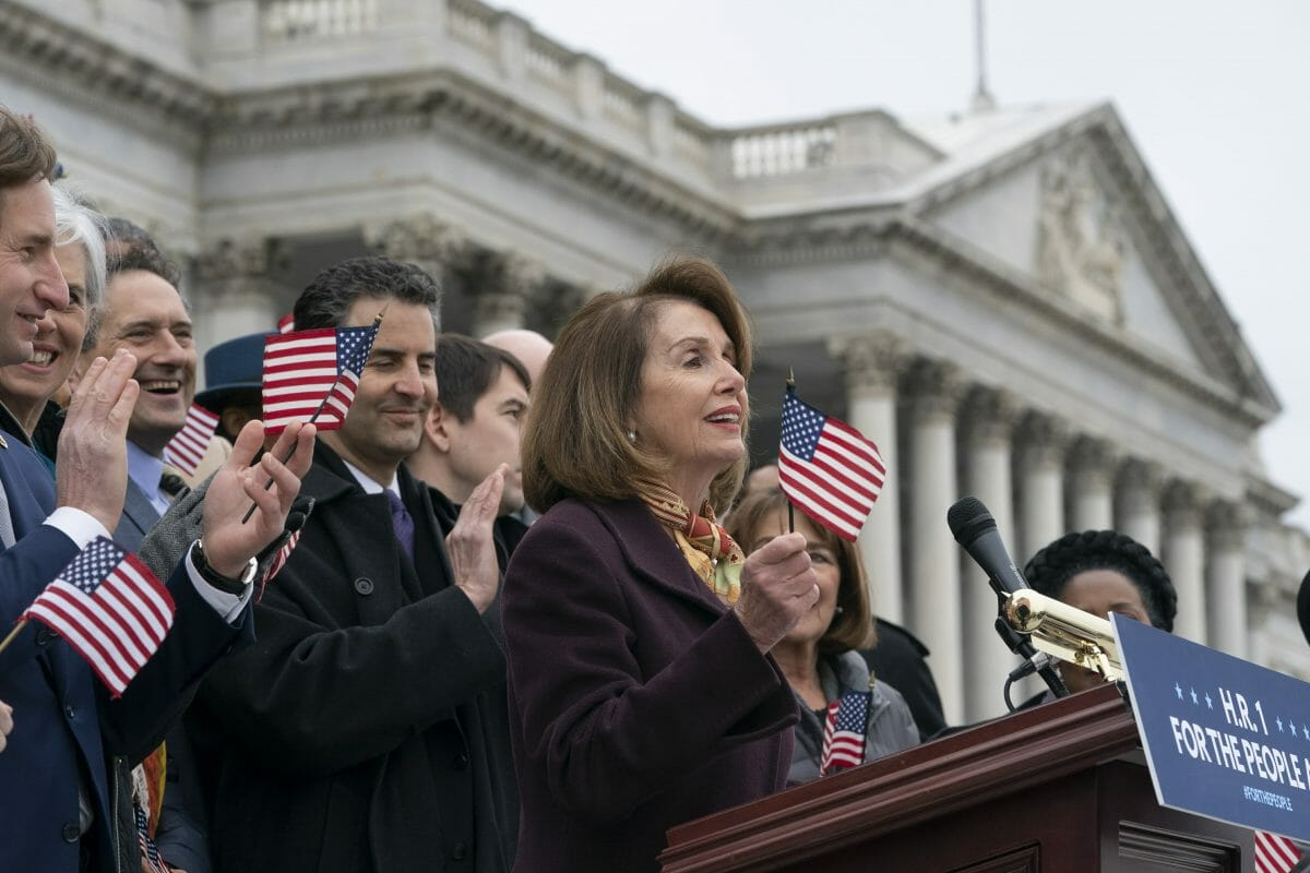Speaker of the House Nancy Pelosi and House Democrats rally ahead of passage of H.R. 1.