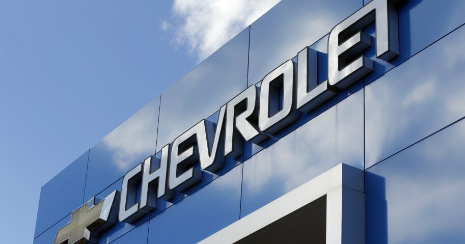 Chevrolet sign at a Chevrolet dealership in Richmond, Virginia.