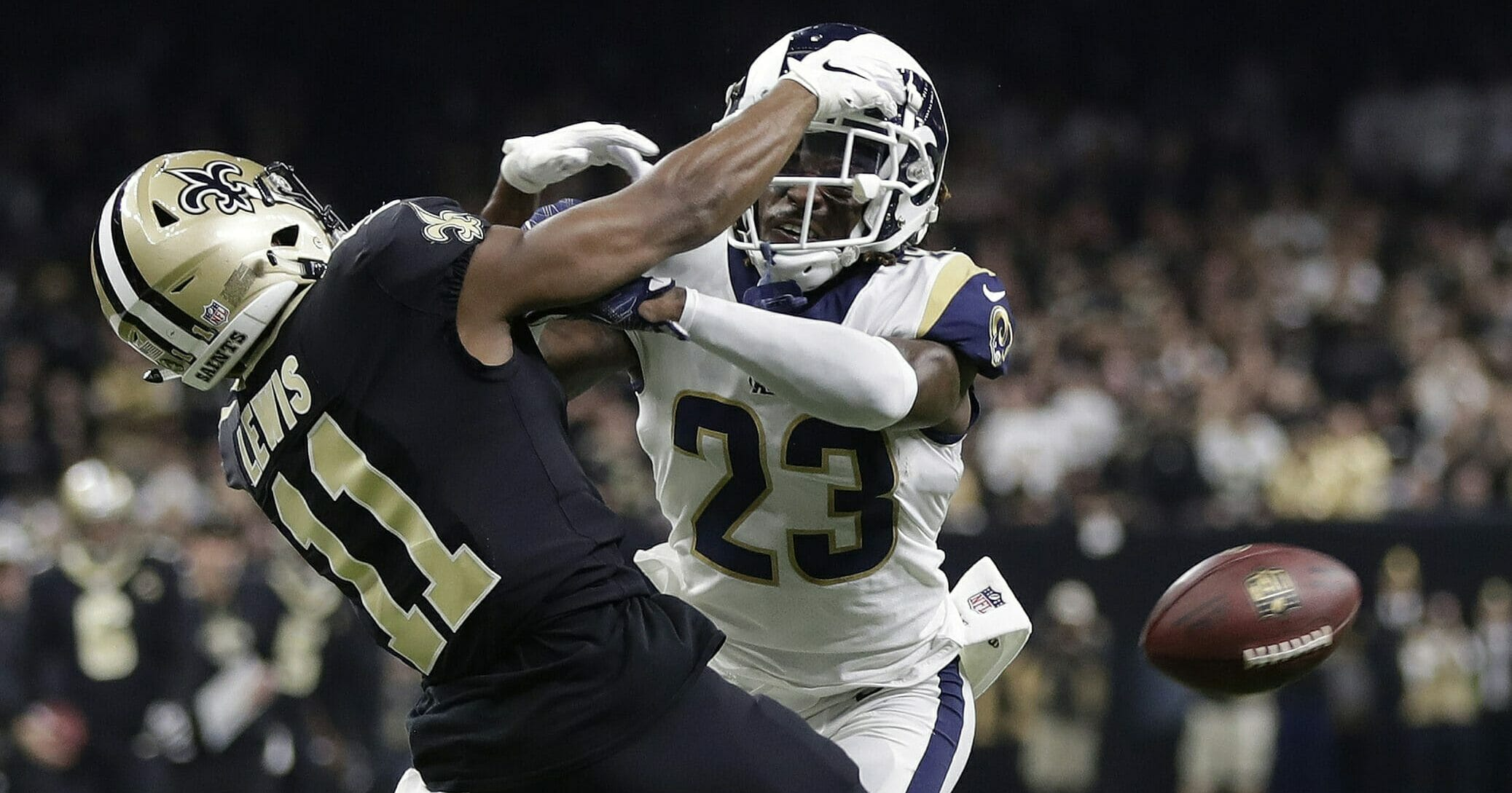 Los Angeles Rams' Nickell Robey-Coleman (23) breaks up a pass intended for New Orleans Saints' Tommylee Lewis during the NFC championship game Jan. 20, 2019.