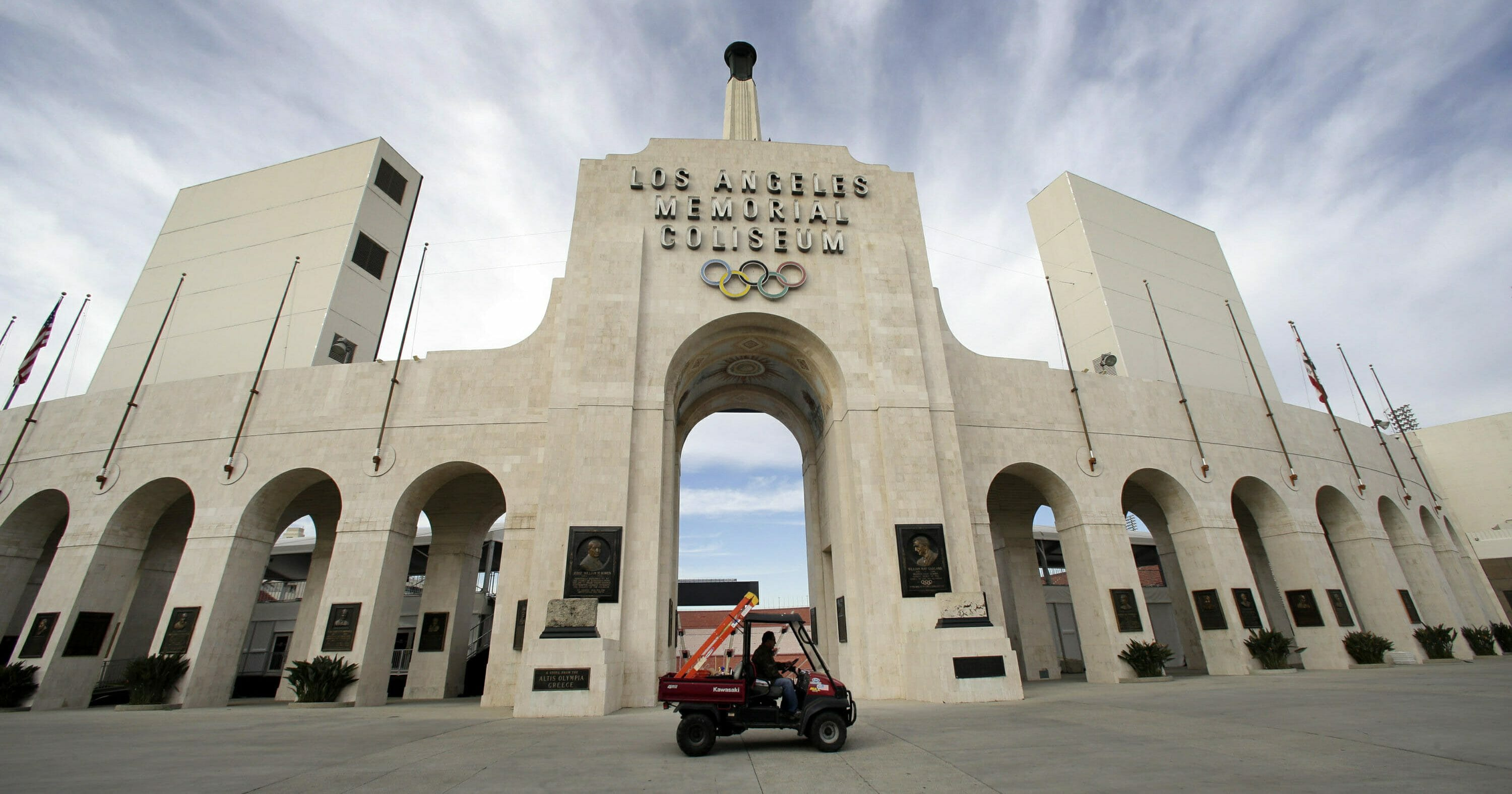 The peristyle of the Los Angeles Memorial Coliseum in Los Angeles is seen Jan. 13, 2016.