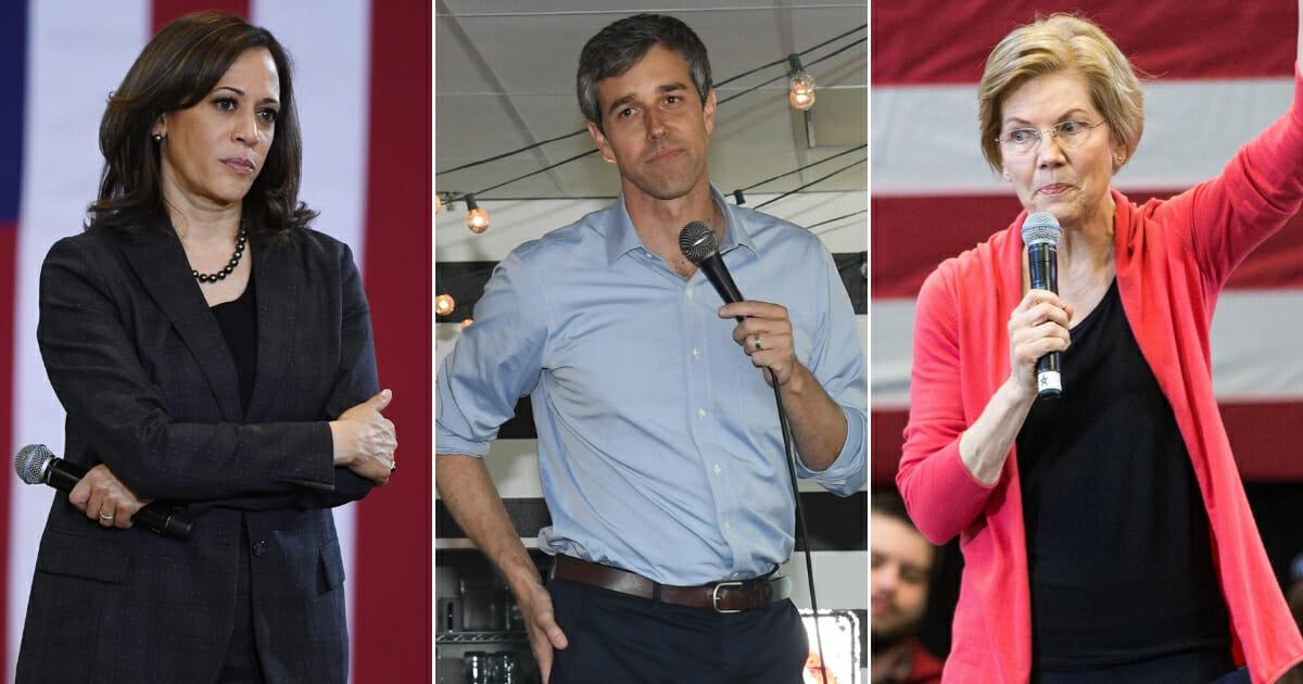 Sen. Kamala Harris; Beto O'Rourke; Sen. Elizabeth Warren.