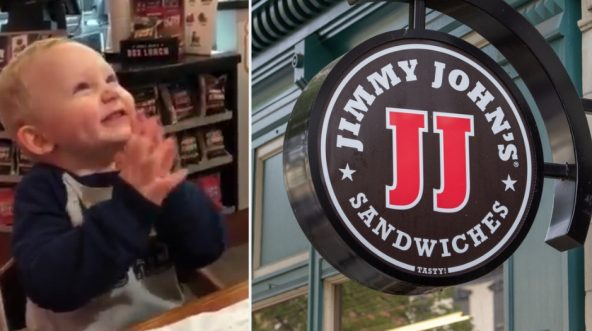 Baby clapping, left, Jimmy Johns logo, right.