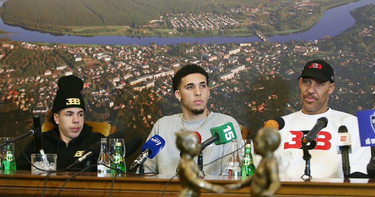 LaVar Ball along with his sons LiAngelo and LaMelo Ball during a press conference after LiAngelo and LaMelo's first training session with Vytautas Prienai on Jan. 5, 2018 in Prienai, Lithuania.