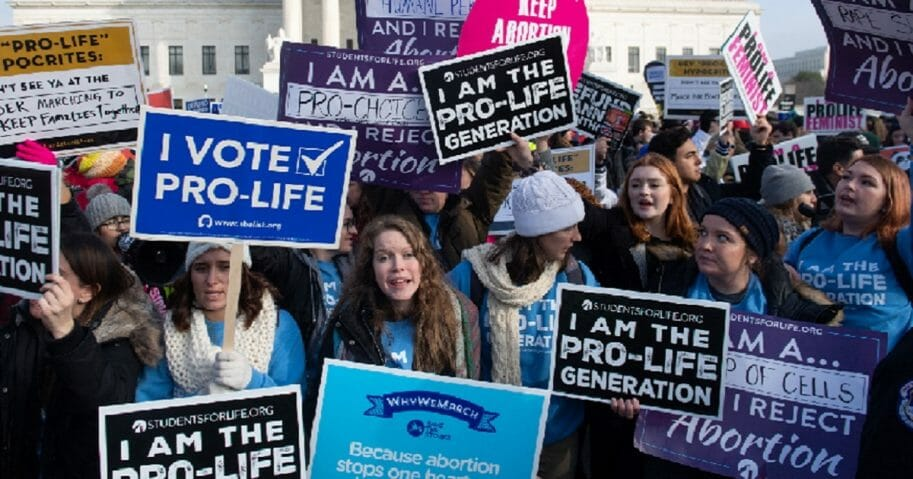 Pro-life activists demonstrate at the Jan.18 March for Life in Washington.