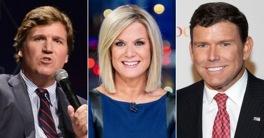Fox News host Tucker Carlson; Fox News host Martha MacCallum; Fox News Bret Baier.