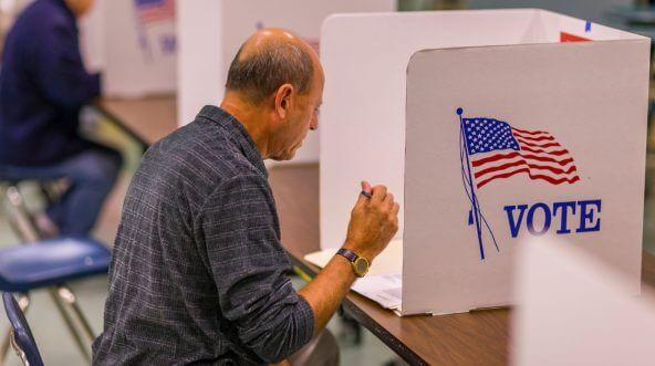 Voter at polls