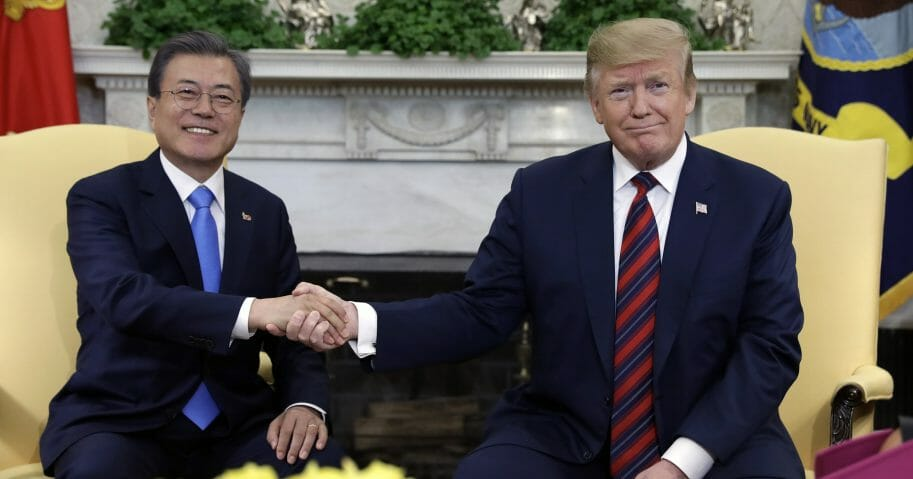 President Donald Trump meets with South Korean President Moon Jae-in at the White House on Thursday, April 11, 2019, in Washington.