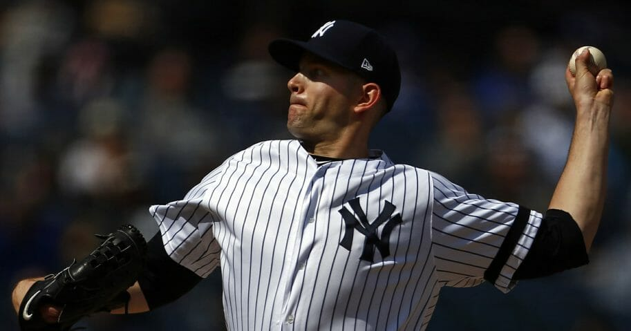 New York Yankees pitcher James Paxton delivers a pitch during the seventh inning of a baseball game against the Kansas City Royals on Sunday, April 21, 2019, in New York.