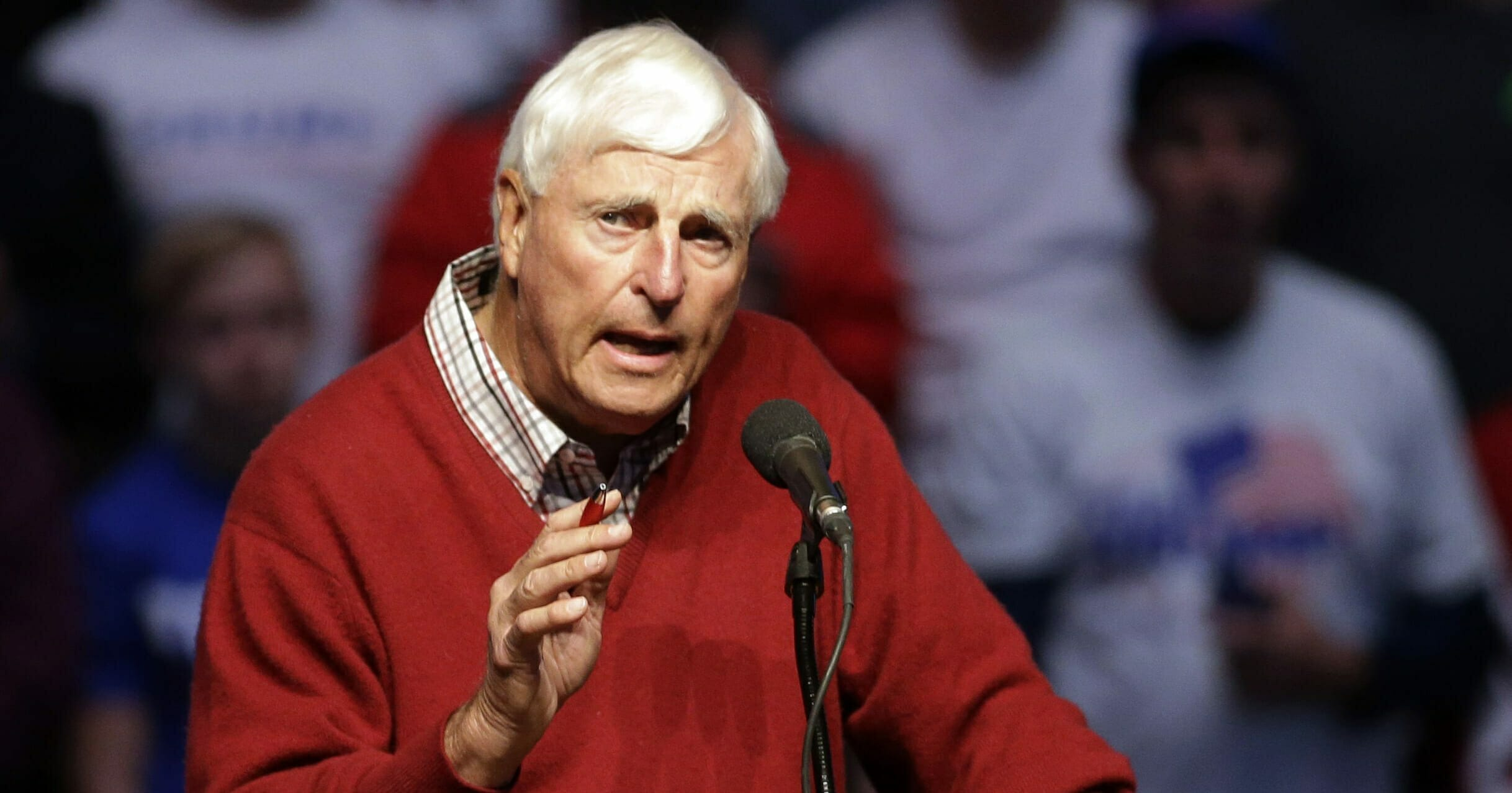 In this April 27, 2016, file photo, former Indiana basketball coach Bob Knight speaks during campaign stop for Republican presidential candidate Donald Trump in Indianapolis.