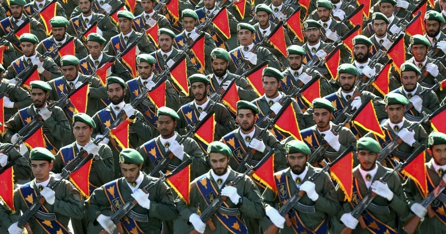 Iran's Revolutionary Guard troops march in a military parade Sept. 21, 2016, marking the 36th anniversary of Iraq's 1980 invasion of Iran.